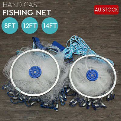 8ft12ft 16ft Cast Net Quick Throw Mono Nylon Mesh Drawstring Chain Bottom Spread