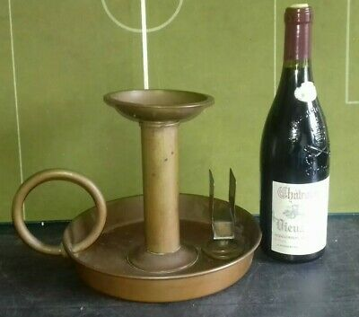 Antique Very Large C Farris Copper Church Candle Holder Candlestick Chamberstick