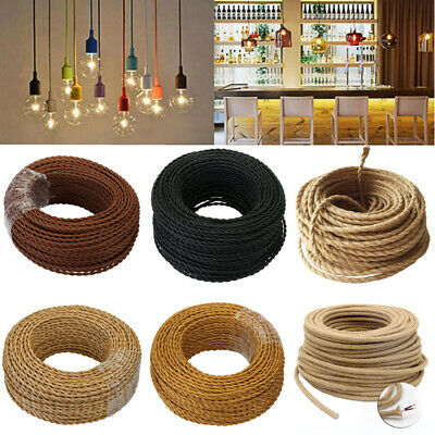 5M/10M/20M 2 Core Twisted Fabric Braided Electric Cable Flex Vintage Lamp 0.75mm
