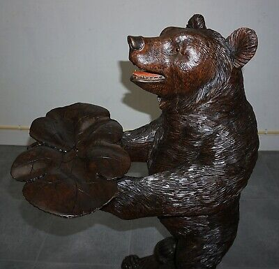 Antique Swiss Black Forest Large Bear Card & Fruit Stand