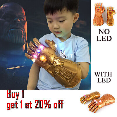 Avengers 4 Infinity War Gauntlet LED Light Thanos Gloves Cosplay Child Adult