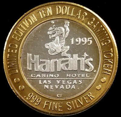 1995 Harrah's Casino Hotel, Las Vegas, Limited Ed. $10 Silver Gaming Token!