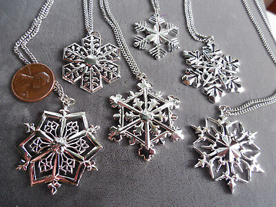 Vintage NOS lot of 6 good quality asst silver tone snowflake necklaces D9