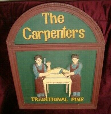 Rare Vintage Carved Wooden 3D Carpenters Traditional Pine Sign