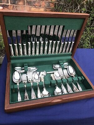 Teak Canteen Of Slack & Barlow Kings Design Silver Plated Cutlery, 67 Pc For 8