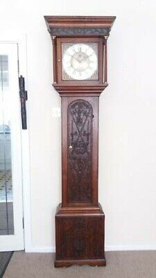 Antique early 18th c. Oak cased longcase clock with 30 hr movement.