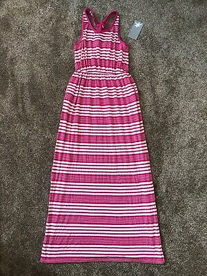NWT Big Girls Splendid Striped Dark Pink White Racerback Maxi Dress Side Slit 14
