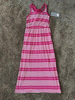 NWT Big Girls Splendid Striped Dark Pink White Racerback Maxi Dress Side Slit 10