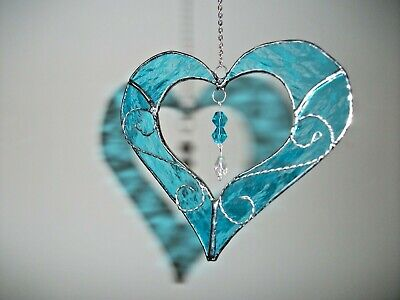 Stained Glass handmade turquoise Heart with wire sun-catcher / window decoration