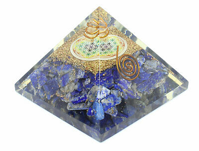 Extra Large 70-75 MM Lapis Lazuli Orgone Pyramid With Chakra Color