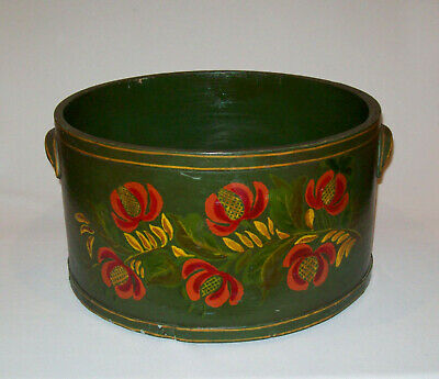 "Antique Vtg 19th C 1890s Large 14"" Dia Green Grain Dry Measure Folk Art Paint"
