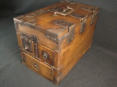 ANTIQUE JAPANESE MEIJI ERA (c.1878) SUZURIBAKO CALLIGRAPHY CHESTNUT TANSU CHEST
