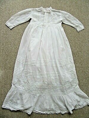 "Victorian style white cotton Christening Gown embroidered & pin tucked 22"" chest"