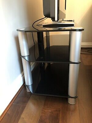 ALPHASON GLASS AND chrome tv hifi av stand - excellent condition