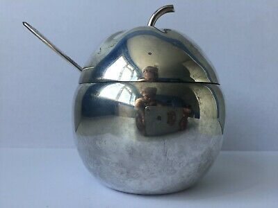 Vintage Unusual Apple Shaped Silver Plated Sugar Bowl W/ Glass Liner and Spoon