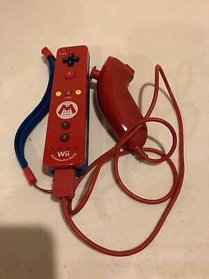 Mario wii Motion Plus Remote controller and Official Nintendo Nunchuck