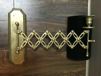 Antique Accordian Brass Expandable Candle Light Wall Sconce Art Steampunk