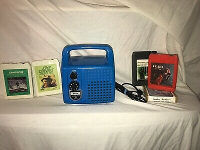 Vintage 1970's Sears 8 Track Mono Player Portable Battery & AC Cord & 5 TAPES!