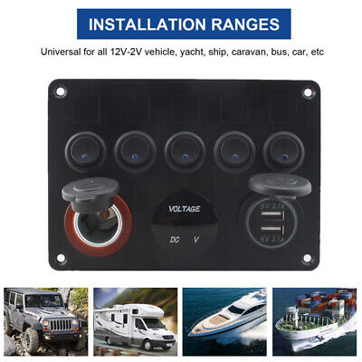 12v car boat rocker switch panel 2 usb charger inline fuse box 5-gang marine