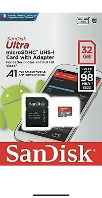 SanDisk Ultra 32 GB Micro SD SDHC UHS-1 98MB/s Class 10 Memory Card + SD ADAPTER