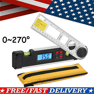 0~270° LCD Digital Inclinometer Protractor Spirit Level Angle Finder Gauge + Bag
