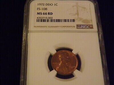 1972    Penny      DOUBLE DIE OBVERSE         NGC MS 66 RD