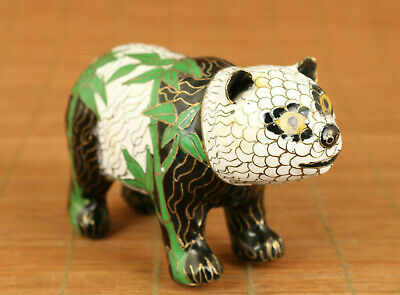 BIG Chinese old cloisonne Handcarved lovely panda bamboo statue table decoration