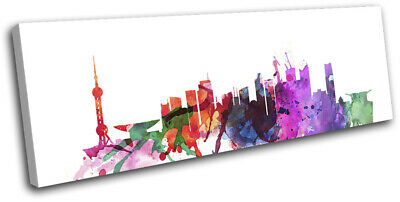 Shanghai Watercolour Style Abstract City SINGLE CANVAS WALL ART Picture Print