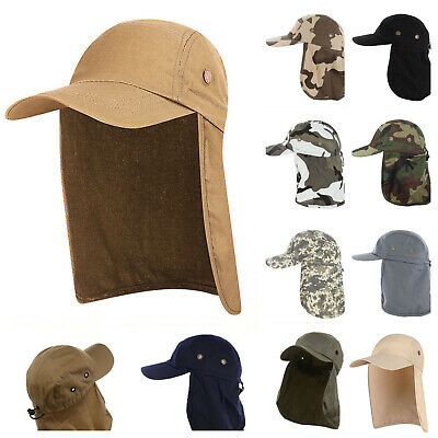 77b4a4f5 Unisex Fishing Cap with Ear Neck Cover Flap Travel Outdoor Camping Sun  Visor Hat