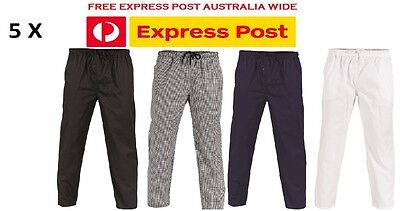 5 X Polyester Cotton Drawstring Chef Pants- DNC Workwear 1501