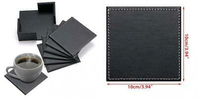 BTSKY Set of 6 Drink Leather Coasters with Holder - Square Cup Black,