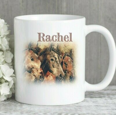 Horse mug painting personalised ceramic ideal gift any name printed