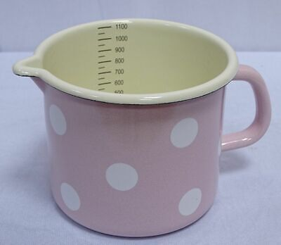 G1665: Enamel Milk Pot with Scale Beak Pot,Handle Pot, Dots Pink White