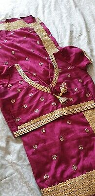 Pink & Gold Embroidery Saree with ready made blouse