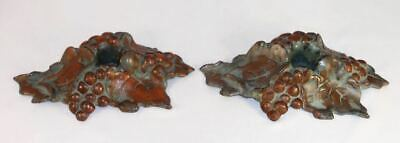 Vintage Painted Pair Cast Iron Candlestick Holders Hubley Grapes & Grape Leaves