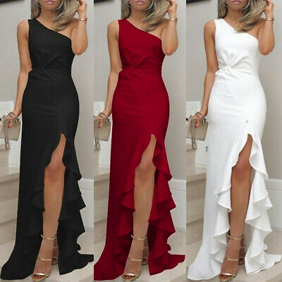Womens One Shoulder Ruched Fold Formal Evening Party Dress Bodycon Maxi Dress CA