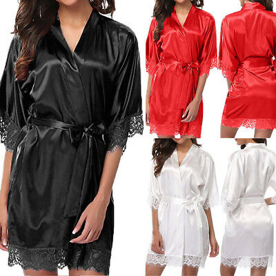 CA Women's Lady Lace Sleepwear Satin Nightwear Lingerie Pajamas Suit Nightdress