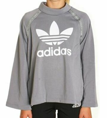 size 7-8 years - adidas originals trefoil nmd crew sweatshirt - grey bq4036