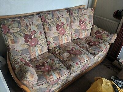 Vintage Ercol Fourpiece Lounge Set, two sofas, chair and footstool.
