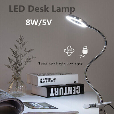 LED USB Dimmable Clip on Reading Light Eye-care Desk Lamp For Bed Headboard 8W