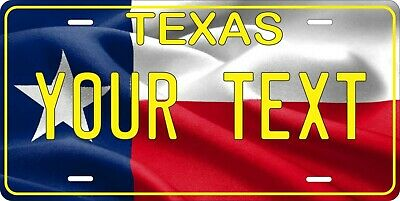 Texas Flag 4 License Plate Personalized Custom Auto Bike Motorcycle Tag