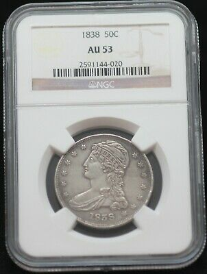 NGC Graded AU 53 1838 Fifty Cent Piece