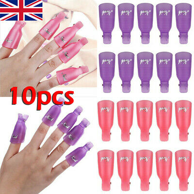 10Pcs Plastic Acrylic Nail Art Soak Off Clip Cap UV Gel Polish Quick Remover UK