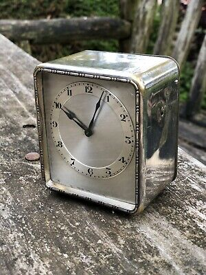 Vintage Brass Silver Carriage Table Mantel Travel Clock Wind Up Mechanical 1930s