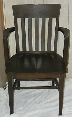 Antique Arts & Crafts Mission Oak Office Desk Side Arm Chair Nice Vtg