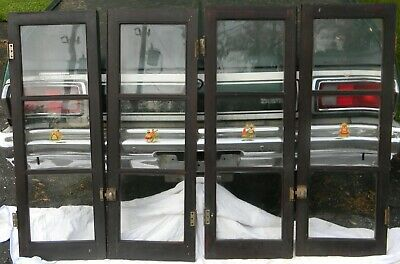 """ANTIQUE GLASS 3 PANE WOOD KITCHEN CABINET DOORS TWO SETS W/ HARDWARE 42"""" x 15"""""""