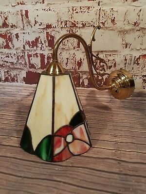 Antique Vintage Old Tiffany Brass Wall Sconce Light Shade Lamp