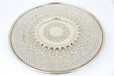Meriden Brittania Co. Sterling Silver Reticulated Footed Serving Plate