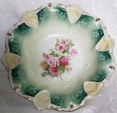 FANTASTIC R S Prussia Hand PAINTED ROSES  Large Bowl Rare Medalion Mold-Signed