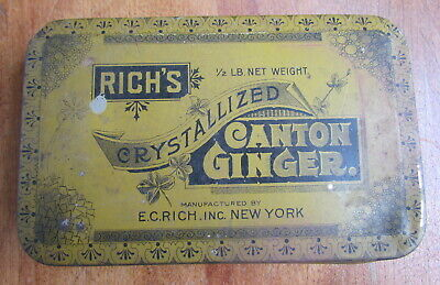 Vintage Rich's 1/2 pound Crystallized Canton Ginger tin great patina USA